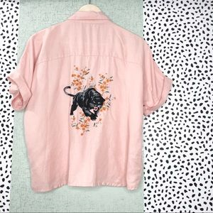 Linen Blend Embroidered Panther Top with Flowers